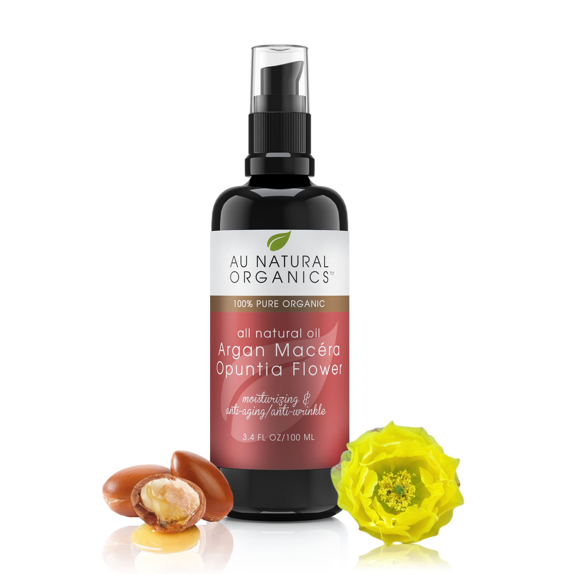 Argan Opuntia Macera Oil is a maceration of cacti flowers in argan oil. A macerated oil is an infusion of plant parts in a selected oil. In this instance, the cacti flowers are chopped up into small parts and added to the argan oil. It is all mixed together and left to macerate in sunlight for as long as needed. The resulting oil is filtered to remove the plant material. Argan Opuntia Macera oil is made up of: